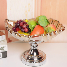 Creative European luxury fruit bowl,shinning Silver Crystal glass tray/alloy Fruit Plates plate fashion home decoration
