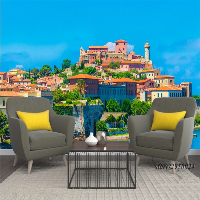 Wall Murals Scenery Customize Italy Seaside Town 3d Wallpaper Bathroom Environment Friendly TV Background Kitchen Study Bedroom customize photo wallpaper murals slovenia lake 3d embossed wallpaper environment friendly tv background wall paper for kids room