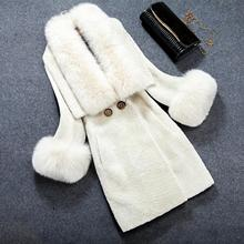 2016European American Women Winter fur Coat New High-end Fashion Temperament Sheephered Fur Lapels Fur Coatimitation Fox Fur