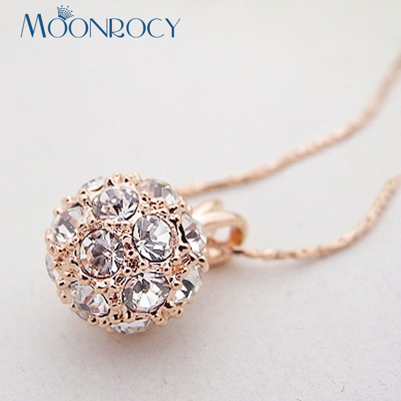 MOONROCY Rose Gold Color Choker Crystal Necklace Choker CZ Jewelry Party Ball for Women Girls Drop Shipping Wholesale