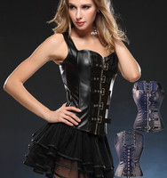 2017 overbust corsets Front and Bandage Back Design corsets Black faux leather Steampunk Corset