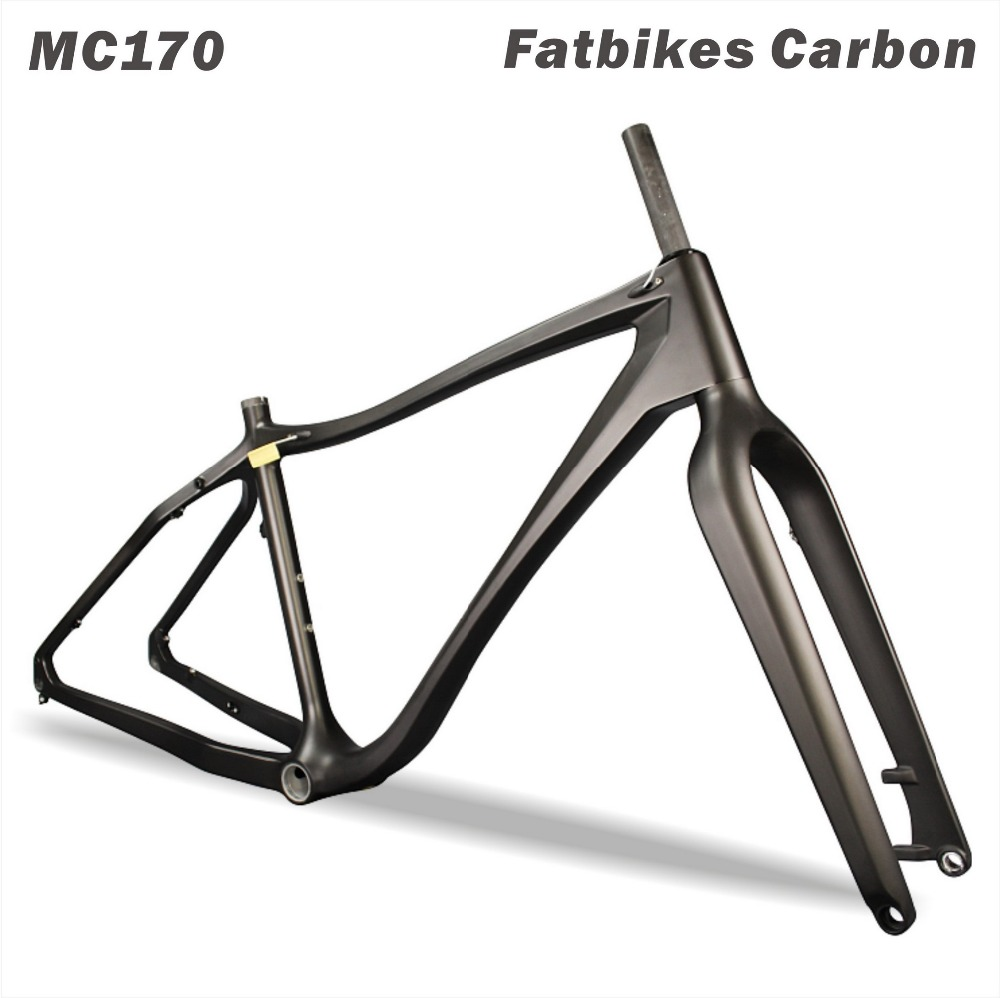 High Quality 2017 Snow Bike 12*170/190/197mm Thru axle Carbon Fat Bike Frame+Fork AVL Carbon Fatbike Frame 2016 new thru axle qr 26er fat bike full carbon snow frame bsa carbon fat bike frame for fat bike cc cmf 010
