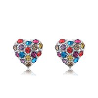 RHao Stud Earrings for women wedding and party brincos pendientes women charm Colorful Crystal Heart Pendant earrings christmas