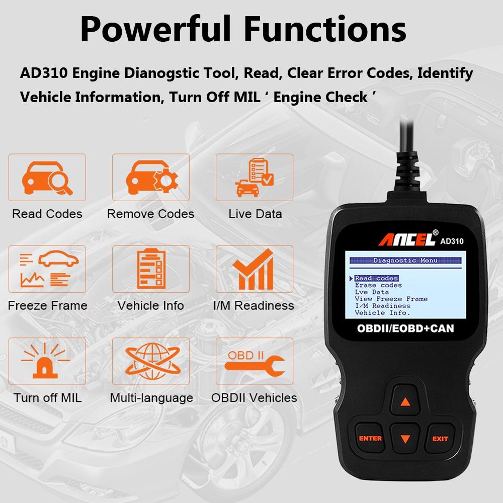 Escáner OBD2 Ancel AD310 con soporte de varias marcas de vehículos