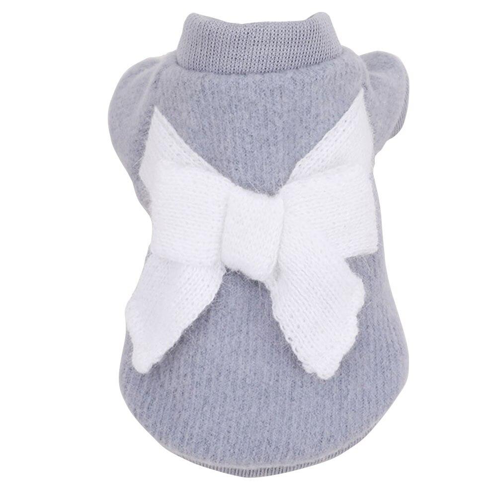 Вязаный свитер костюм свитер для кота с бантом 3 цвета пальто щенок Милая Одежда для собак ropa para perro - Цвет: 6