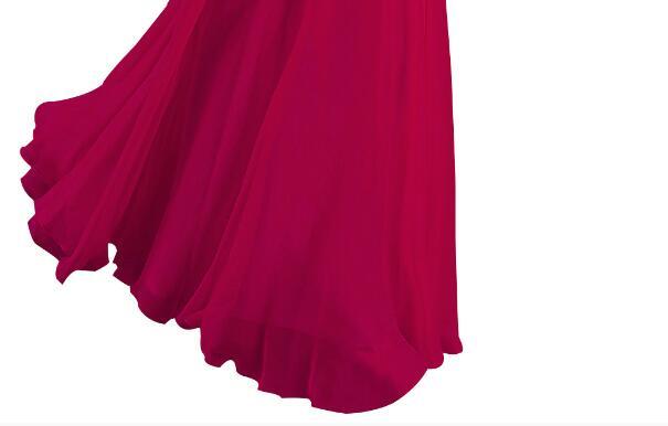 [Распродажа] шифоновое вечернее платье Длинное Элегантное длинное вечернее платье с блестками и бисером на шнуровке сзади милое - Цвет: Rose Red