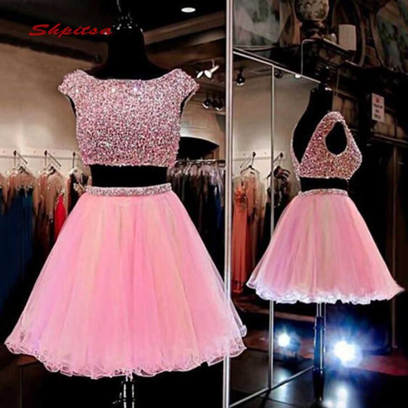 Pink Short Homecoming Dresses Two Piece Women Crystals ...