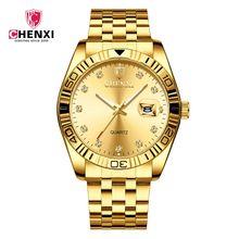 CHENXI Marca Relógio De Ouro Dos Homens da Forma das Unhas Strass Casal Homem Vestido de Negócios Presente Relógio Cinta de Aço de Ouro Relógio De Pulso De Luxo