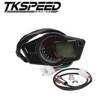 Motocicleta LCD Motocicleta Velocímetro Digital Odómetro Tacómetro Velocímetro Ajuste para 2 y 4 Cilindros