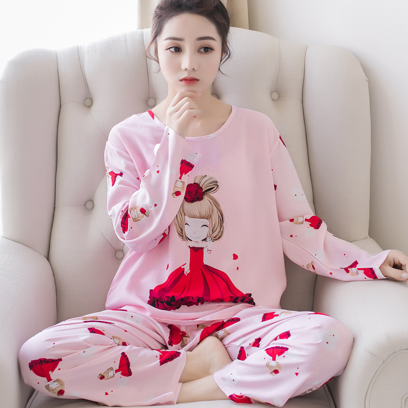 New Women   Pajamas     Sets   autumn winter Sleeve Thin Cartoon Print Cute Loose Sleepwear Girl pijamas Mujer Leisure Nightgown Women