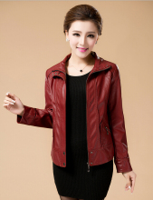 XL-6XL Women's Fashion Short Design Leather Jacket Large Size Slim Leather Coat Outwear Mother Clothing short coat free shipping
