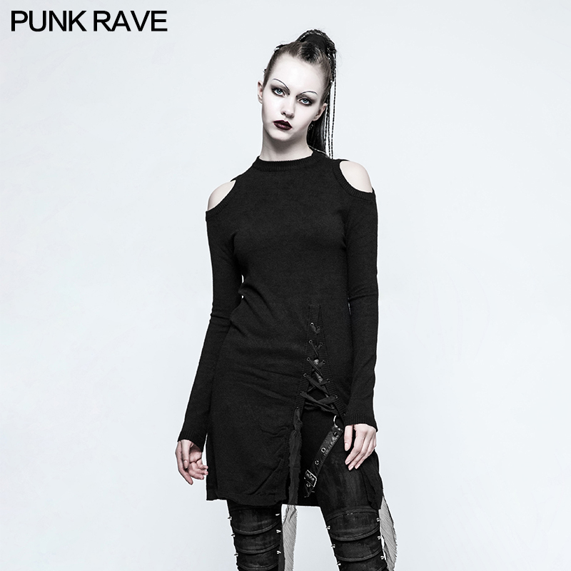 2017 new design punk rave gothic style sweater dress women knitted sweater winter clothes women OPM-042