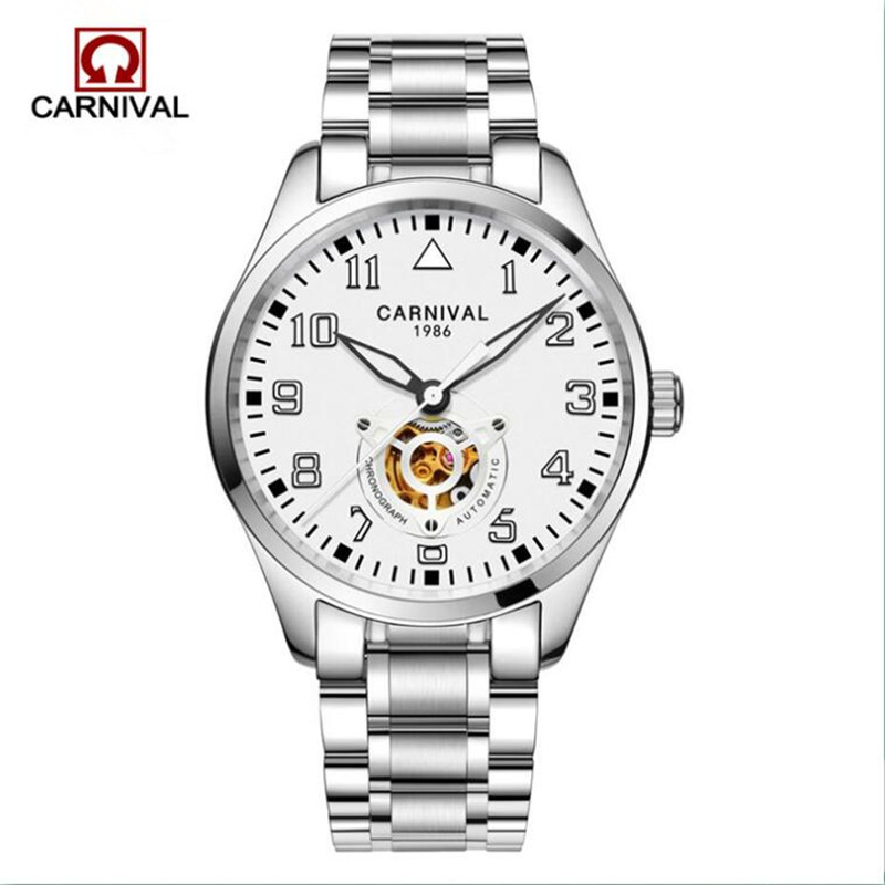 Carnival Fashion Automatic Watch Men Stainless Steel Hollow Design Mechanical Watches Luminous Mens Clock bayan kol saati 2018Carnival Fashion Automatic Watch Men Stainless Steel Hollow Design Mechanical Watches Luminous Mens Clock bayan kol saati 2018
