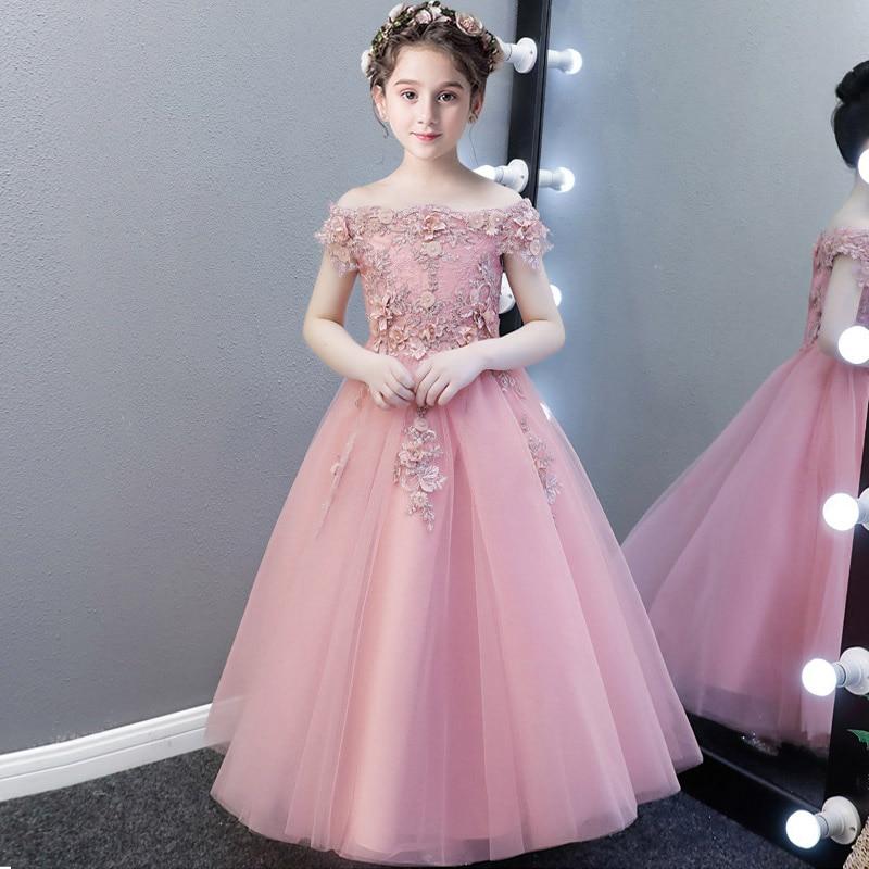 Романтичное свадебное платье подружки невесты с цветочным узором для девочек; Новинка года; длинное кружевное платье с украшением из бисера; праздничное платье с цветочным узором для девочек - Цвет: Bean sand color