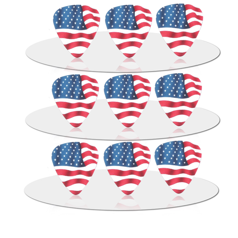 SOACH 10pcs 0.71mm Flag of the United States quality two side earrings pick DIY design guitar accessries pick guitar picks