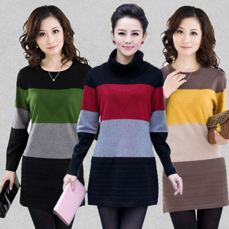 Women Sweater Dress Fashion Knit Long Pullovers Vestidos Sweater Sexy Bodycon Dress High ...
