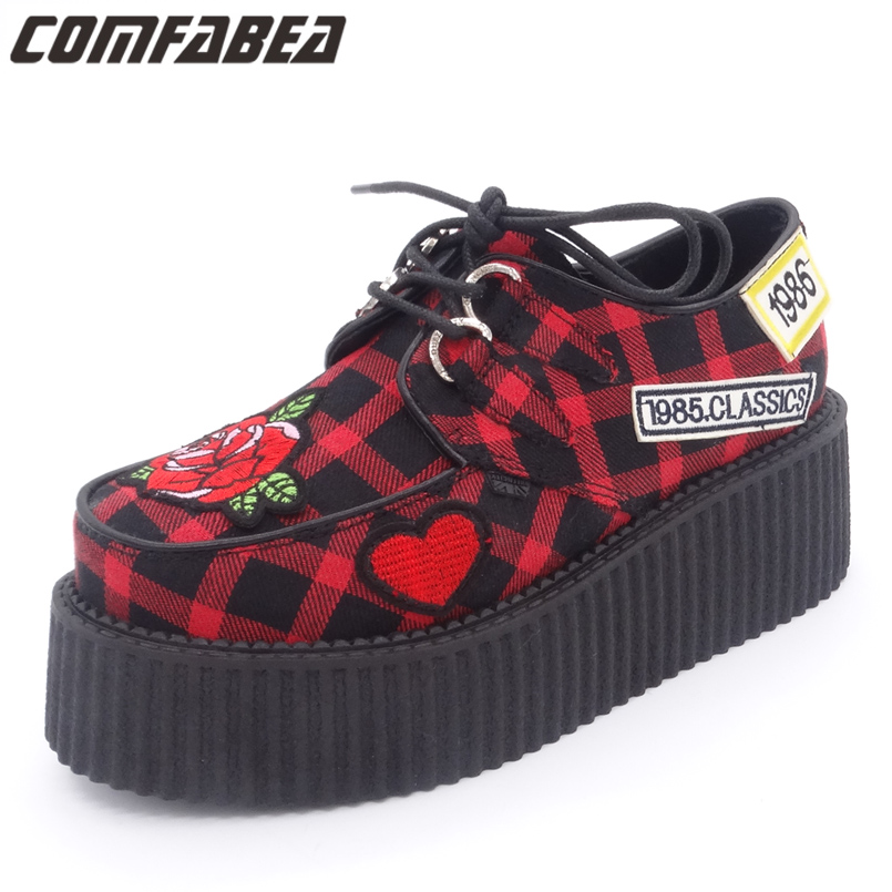 Womens Spring Autumn Casual Shoes British Classic Punk Goth Shoes Platform Studded Flats Creeper For Ladies HARAJUKU Creepers цена 2017