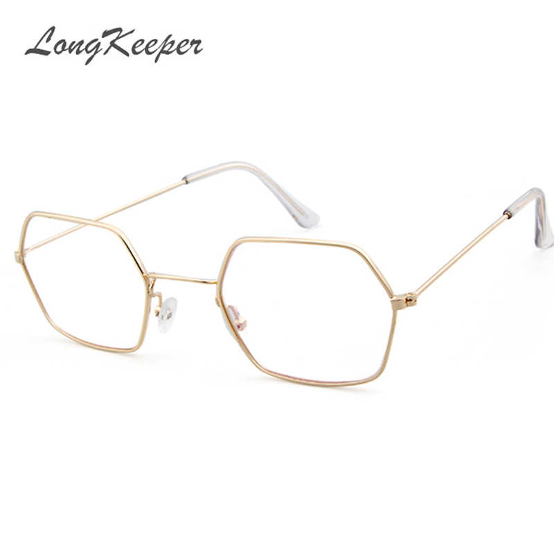 2df14f0a0d LongKeeper Gold Clear Glasses Women Hexagon Sexy Clear Glasses Frame Eyewear  Sunglasses Ladies Polygon Eyeglasses Frame