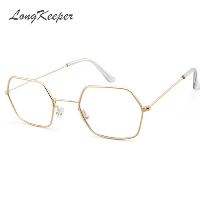 afc4747fe5 LongKeeper Gold Clear Glasses Women Hexagon Sexy Clear Glasses Frame Eyewear  Sunglasses Ladies Polygon Eyeglasses Frame J3403E