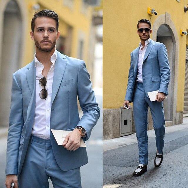 2017 Developed Blue Men Suit Groom Tuxedos Custom Notch Lapel Mens ...