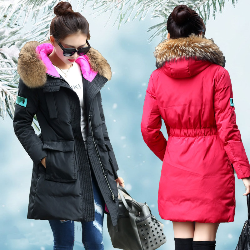 цены на Warm Winter Jackets Long Duck Down Coat Pregnant Woman Clothing Maternity Clothes Ladies Jacket Parka Real Fur Hooded Plus Size в интернет-магазинах