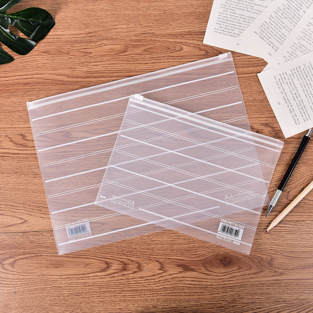 M/L Brief Style Striped Transparent A4 A5 File Folder File Bag Document Bags Office Stationery Filing Production Material: PP