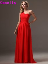 2017 Summer Red Long One Shoulder Chiffon Bridesmaid Dresses Gowns With Strap Women Formal Wed Party Gowns Custom Made New