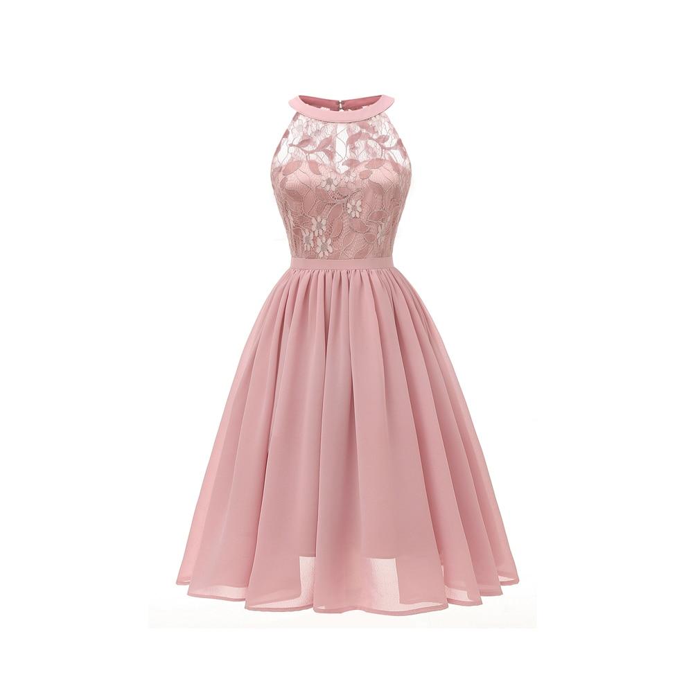 Halter Pink Lace Cocktail Dresses Elegant Formal Party Dress A-Line Women 2019 Short Vestidos Sexy Women Homecoming Dresses