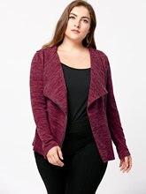 Plus Size Marled Zip Up Cardigan Basic Coats Long Sleeve Bomber Jacket