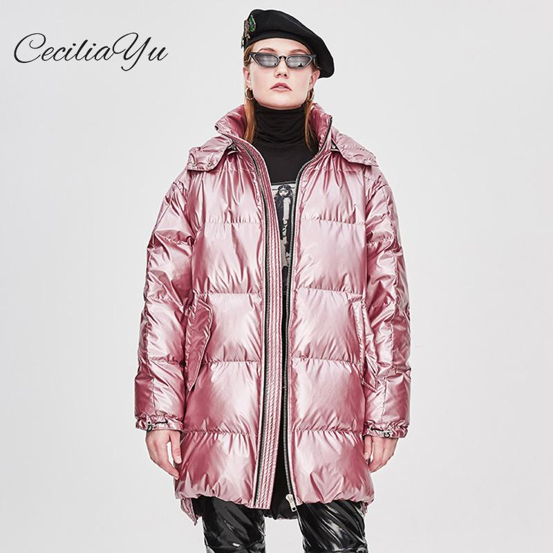 Ceciliayu 2018 Winter New European Station   Down   Jacket Female Long Hooded Thickening Ins Style Winter Women   Down     Coat