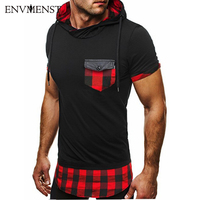 2017 Fashion Brand Designed Men S Plaid Pocket Designed Hooded T Shirt Short Sleeves High Street