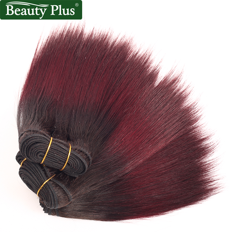 Burgundy Bundles Ombre Human Weave Dark Roots 8inch Short Peruvian Straight Human Hair Beauty Plus 2 Tone 1B 99J Remy Human Hair