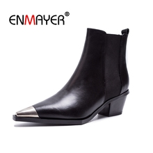 ENMAYER Ankle boots Women Martin Boots 2018 Autumn Winter Fashion Woman Boots Slip on Square toe Thick heel Women's Shoes CR1445 цена