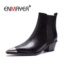 ENMAYER Ankle boots Women Martin Boots 2018 Autumn Winter Fashion Woman Boots Slip on Square toe Thick heel Women's Shoes CR1445(China)