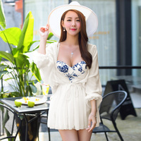 2016 New Chinese Style Triangle Piece Swimsuit Female Steel Prop Gather Belly Cover Was Thin And