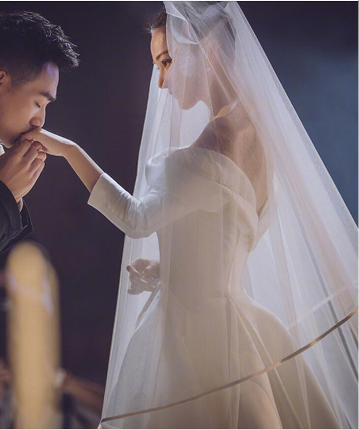 Ribbon Edge Wedding Veils Tulle Long Bridal Veil Two Layer Bridal Veil Long Bridal Party Veils Wedding Accessories