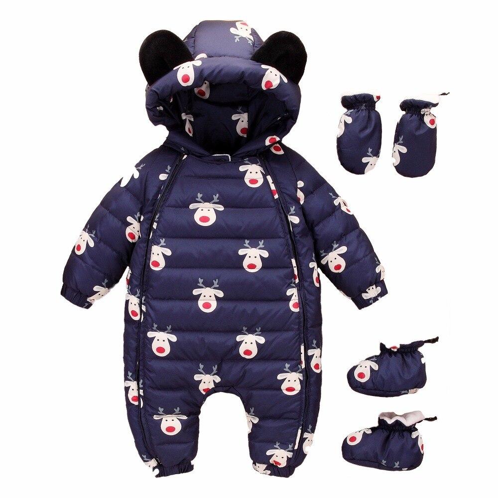 Hiver nouveau-né bébé bas body fille bas vestes bébé Snowwear enfants bas body enfants Outwear avec gants et chaussures