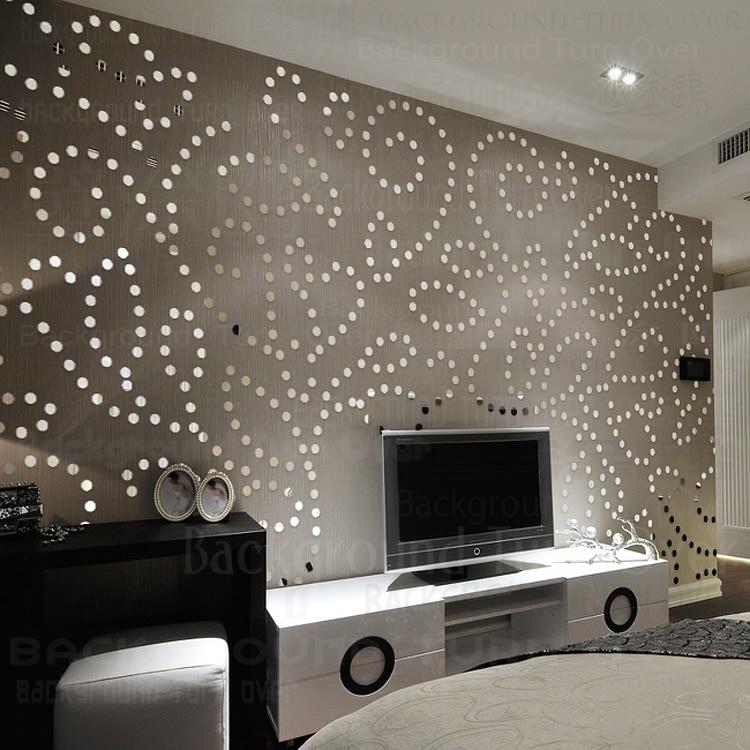 Creative style Européen de luxe 3d cercle dot acrylique miroir stickers décoratifs pour TV fond toile de fond intérieur décor R092