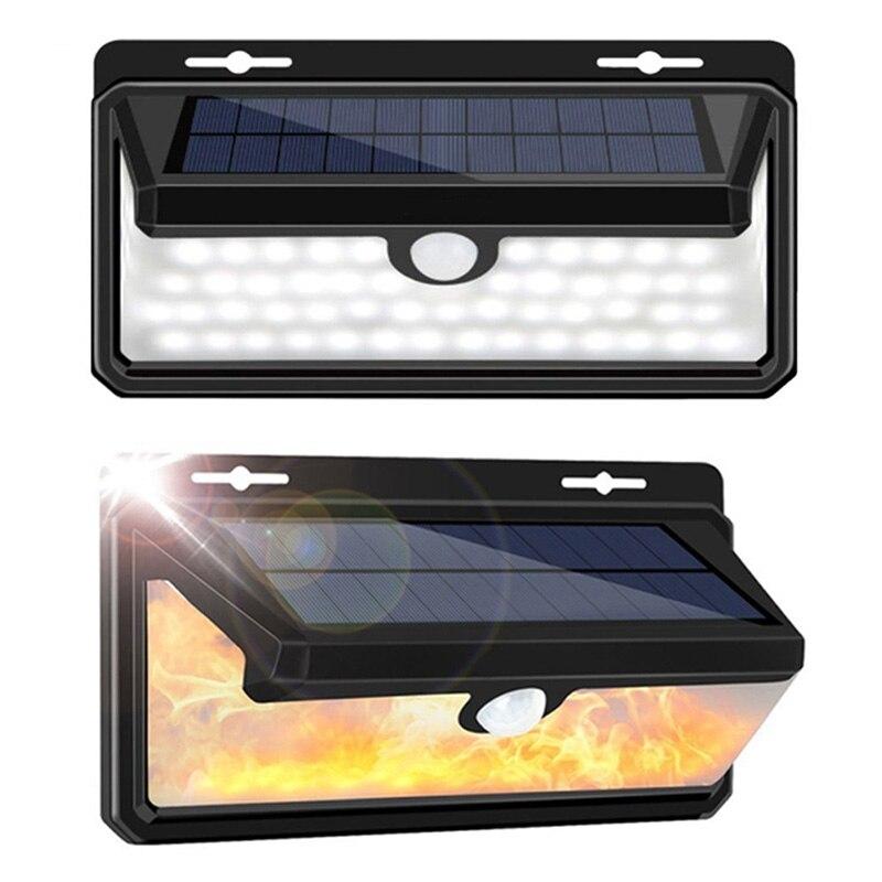Three-Sided Luminous Solar Flame Wall Lamp 3 Modes Wireless Motion Sensor Light Human Body Induction