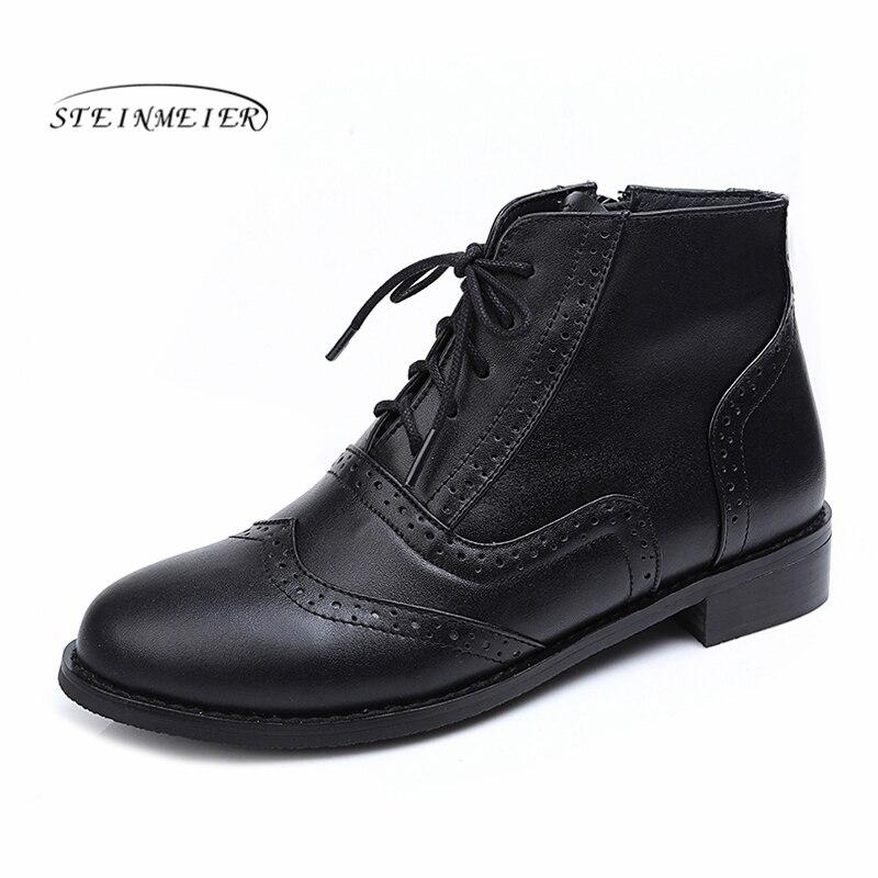 Botas de nieve de invierno de cuero genuino tobillo primavera cheleas botas de tacón Mujer botas cortas marrones 2019 para mujeres botas-in Botas hasta el tobillo from zapatos    1