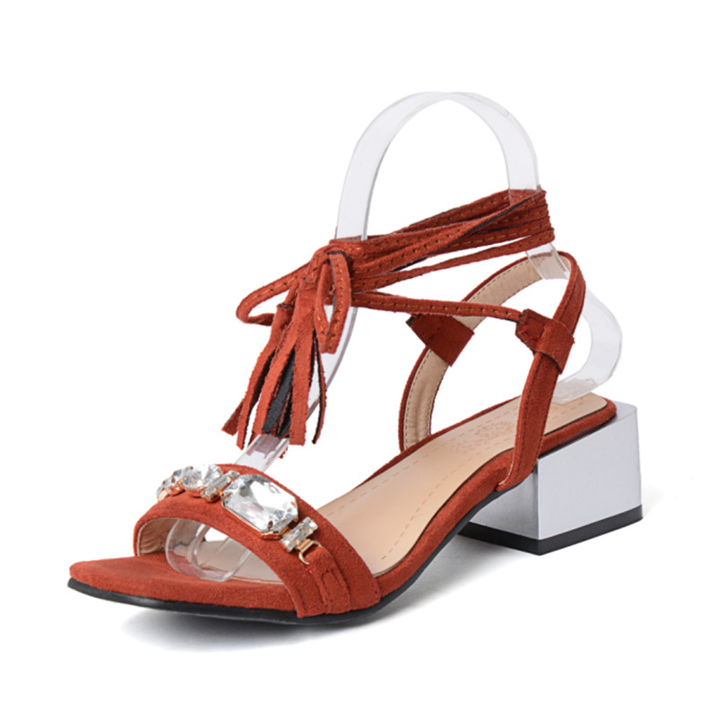 4729ecdcee5 COVIBESCO Summer Fashion Dress Shoes Ankle Strap Crystal Thick High Heels  Sandals Black Apricot Orange Wedding Party Shoes-in Women s Sandals from  Shoes on ...