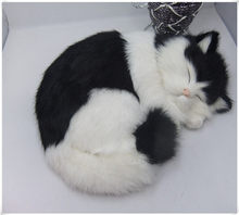 new simulation sleeping cat polytene & fur black and white cat home furnishing gift 25x21cm(China)