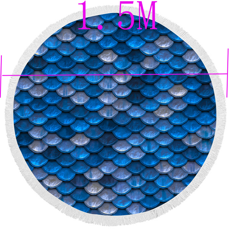 Boho Beach Towels Printed Blue Scales Beach Towel Microfiber Round Fabric Bath Towels For Living Room Home Decorative