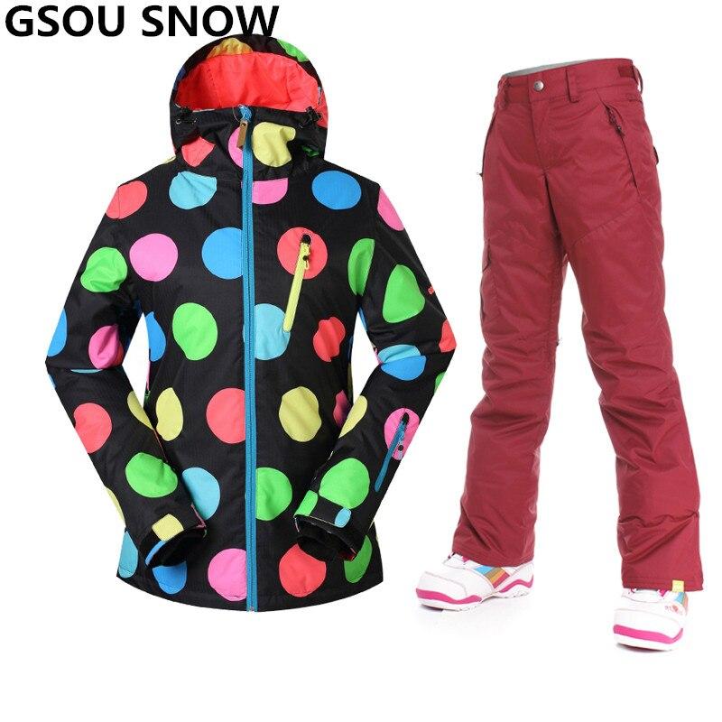 Prix pour Gsou neige combinaison de ski de Neige-30 Degrés Femmes étanche 10 K respirant ski veste femmes en plein air ski pantalon + snowboard veste costumes
