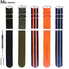 MR NENG Brand For ZULU 5 Ring Nylon NATO Strap 18mm 20mm 22mm Watchband 24mm G10 Watch Black Orange Green Color Choose