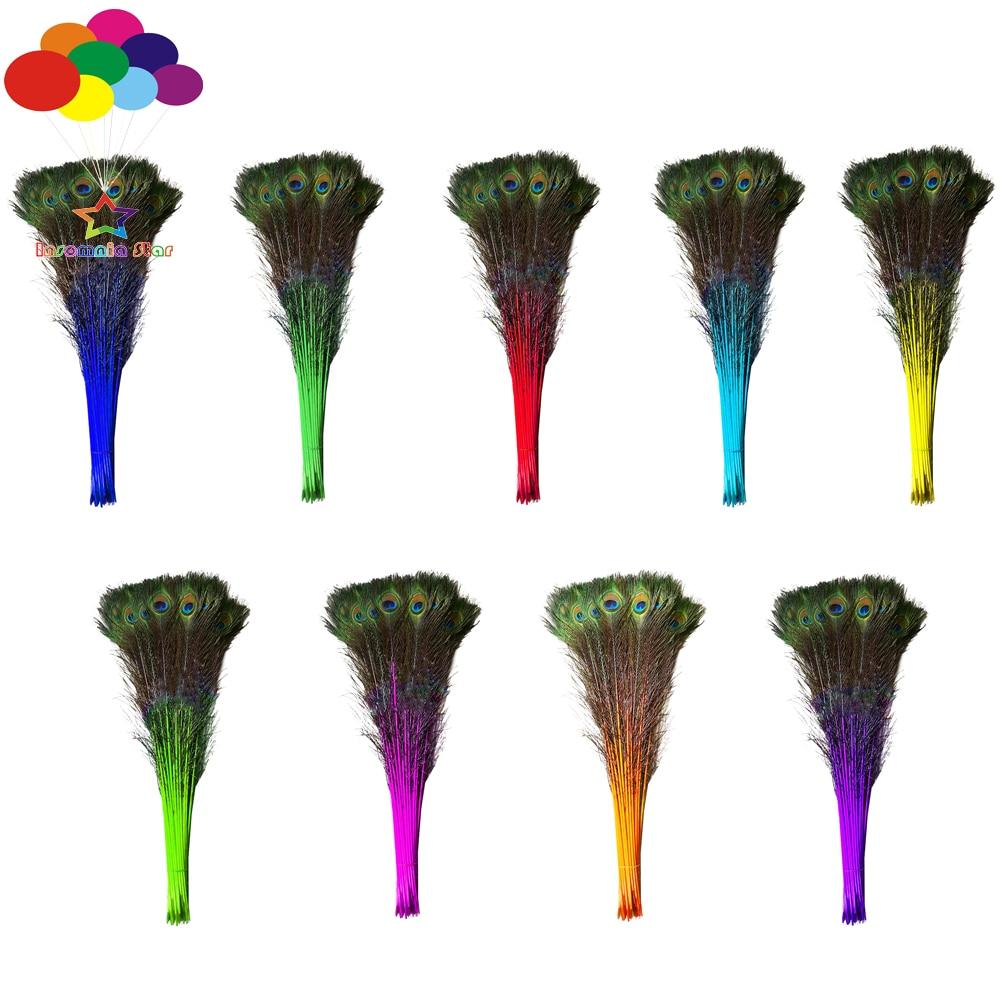 100 pcs 100% Naturel Paon Plumes Teint multicolore 70-80 cm/28-32 pouce Haute Qualité pour diy costume masque coiffe