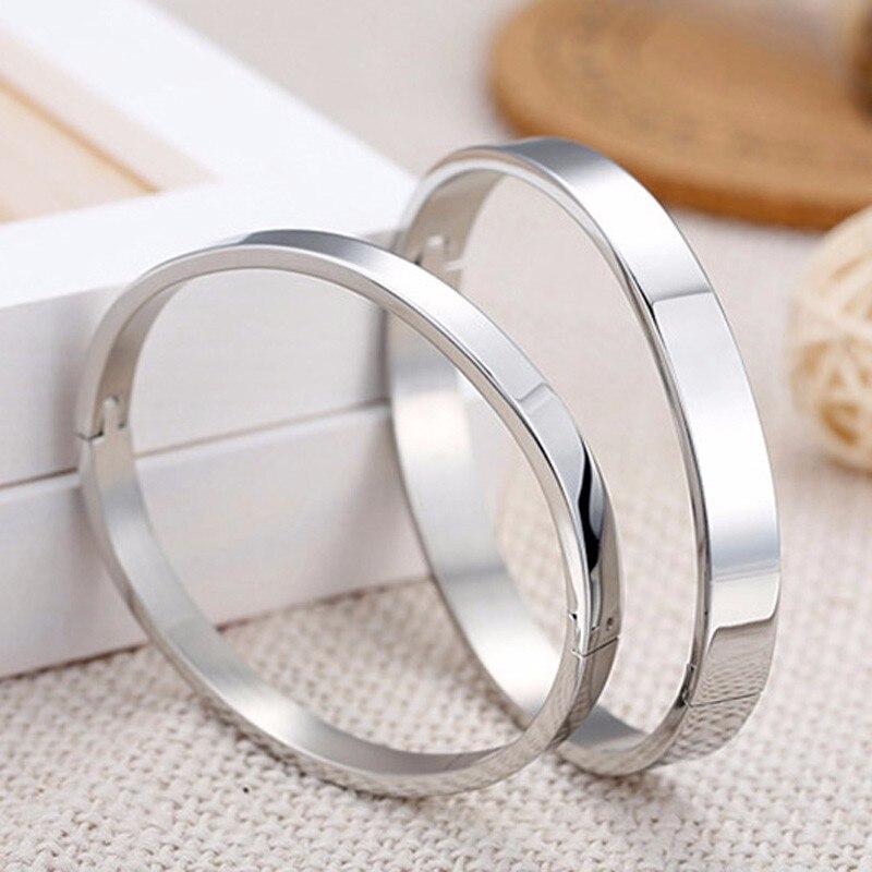 Luxury Lover Cuff Bracelets&Bangles Top Silver Color Brand Couples Simple Glaze Buckle Love Charm Bracelet For Women Or Men 3