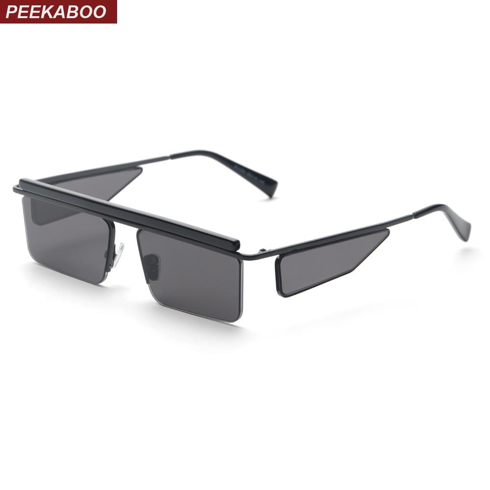 Peekaboo retângulo preto óculos de sol dos homens quadrados verão 2018  óculos de sol da moda de metal meia armação marrom vermelho para mulheres  marcas ... 630c8de3d5