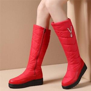 Image 5 - Женские зимние ботинки MEMUNIA, теплые ботинки до середины икры на меху с нескользящей резиновой подошвой на молнии, 2020