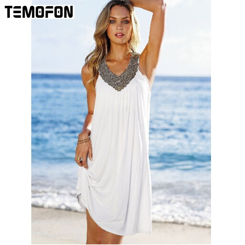 a77f2ff910d TEMOFON Women Summer Beach Dress V-Neck Sleeveless Loose Mini Solid Dresses  Seven Color Party Fashion Female Dresses ELD234